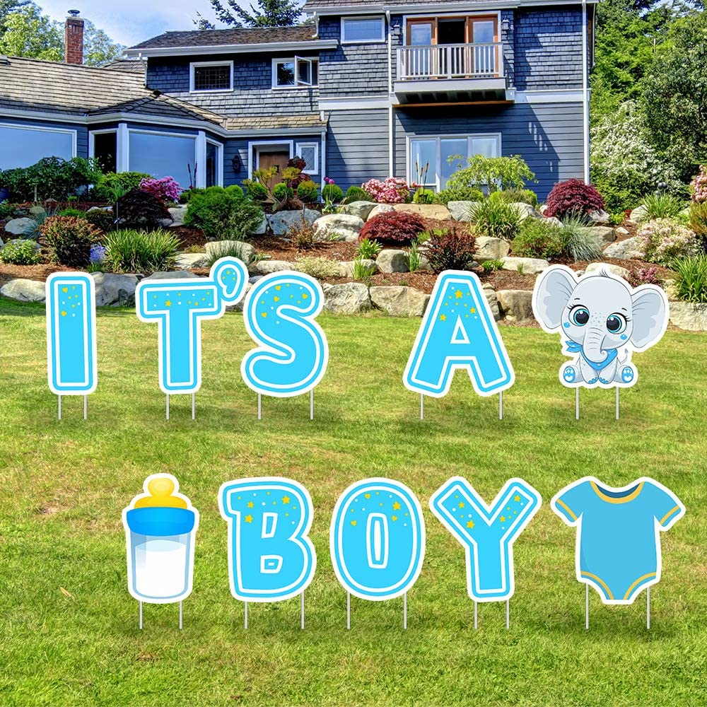 IT'S A BOY Blue Yard Signs with Stakes–Boy Special Delivery - It's A Boy Elephant Baby Shower Yard Sign Lawn Decorations-Party Yard Sign-Welcome Home Baby Lawn Sign-Gender Reveal Baby Shower-10PCS