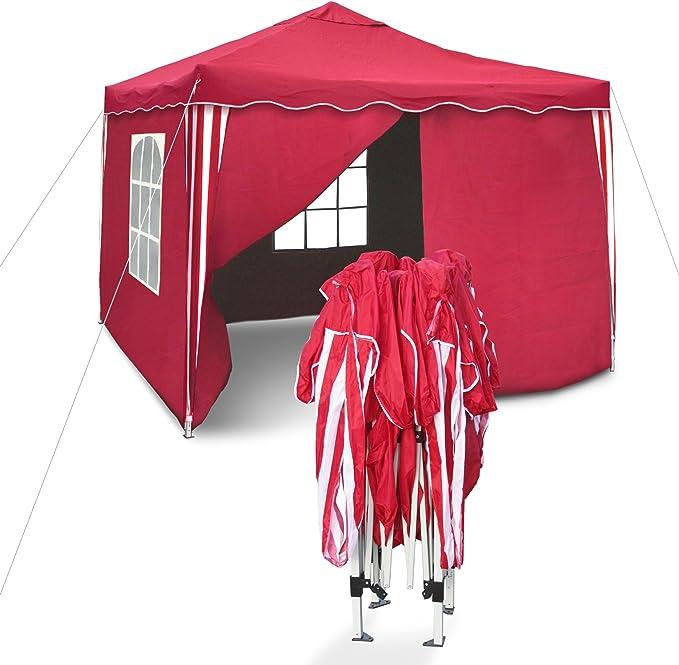OM Tente Sylt II de réception Pliante 3 x 3 m, Rouge/Blanc, Les parois latérales équipées de 2 fenêtres/paroi ouvrable/paroi fermée - Matière de la Toile Oxford 200D Enduit PVC coté intérieur,