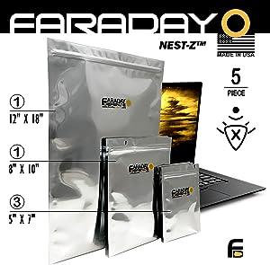 Faraday Cage EMP/ESD Bags Premium 5pc Kit Thick & Heavy Duty Quality Kit for Medium Notebook, External Hard Drive, iPad Windows