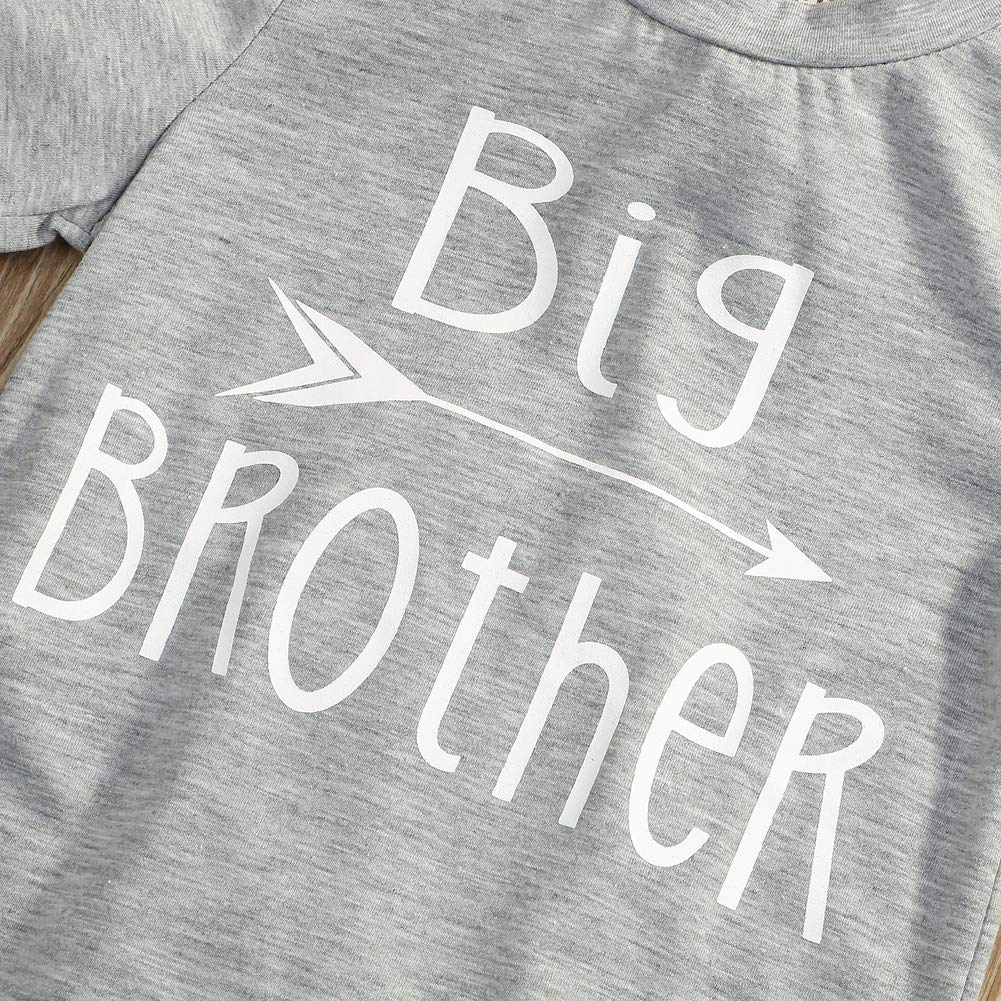 Younger star 1PC Children Baby Boy Gray Letter Print Short Sleeve T-Shirt Clothes Outfit (Gray-Brother, 3 T) by Younger star (Image #6)