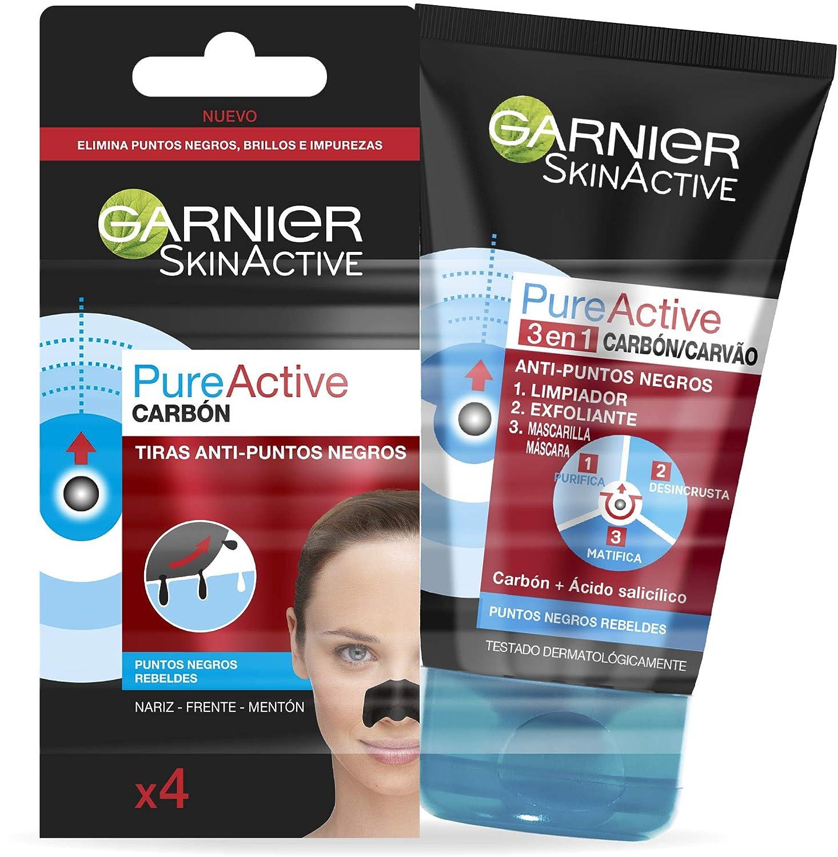 Garnier Skin Active Kit Pure Active Anti Puntos Negros: Gel Limpiador y Exfoliante Facial 3 en 1 + Tiras Anti Puntos Negros 220 g