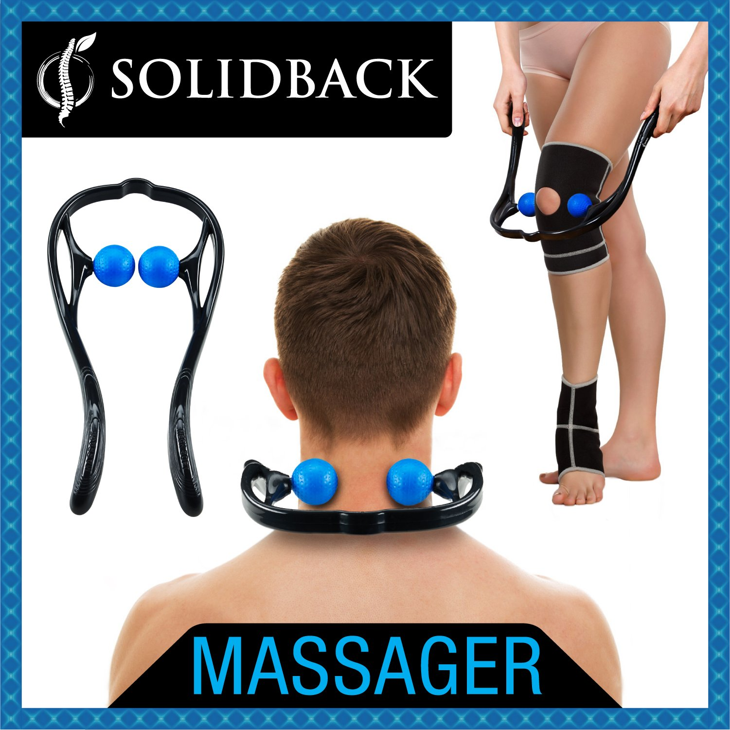 SOLIDBACK   Handheld Deep Tissue Self Massage Tool   Best Massager for Head Neck Legs Feet and Knee Pain Relief   Trigger Point Therapy   Myofascial Release Tools   Accupressure and Reflexology Balls