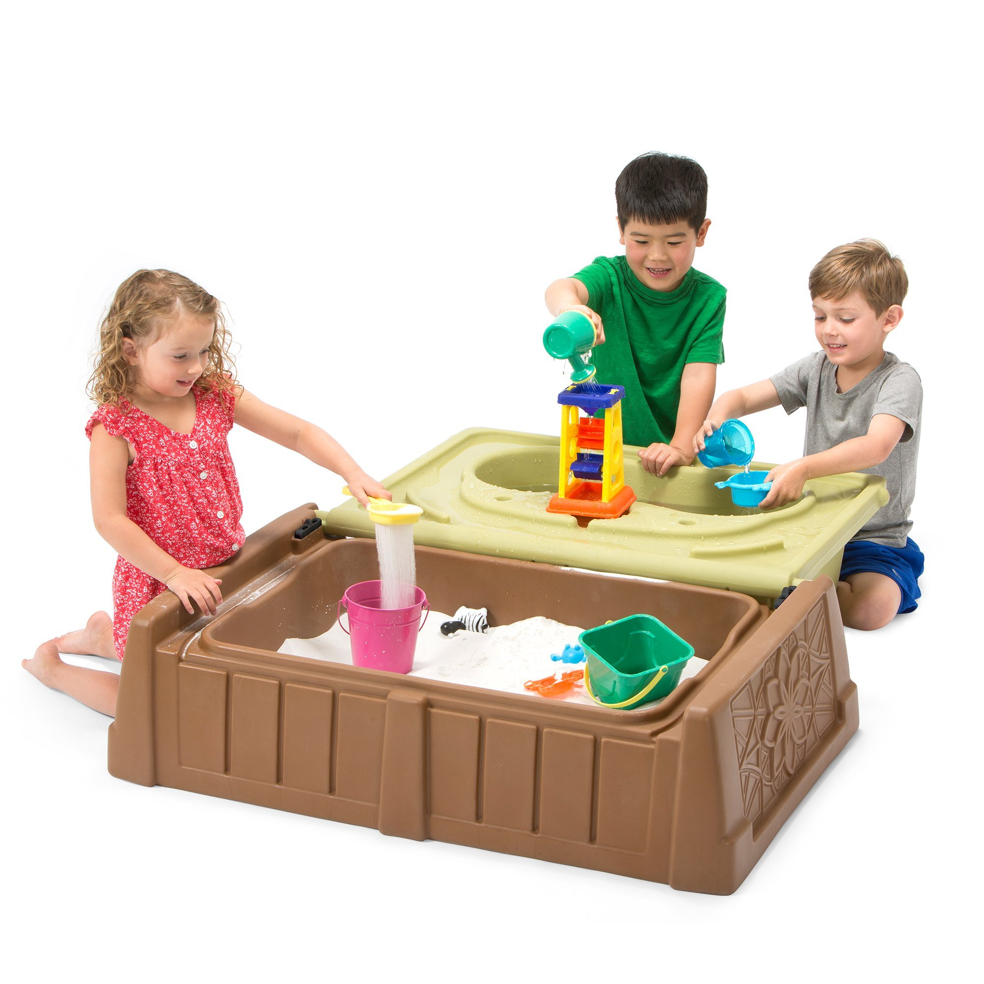 Simplay3 Sand and Water Bench - Kids Outdoor Storage Bench/Sand and Water Activity Station by Simplay3