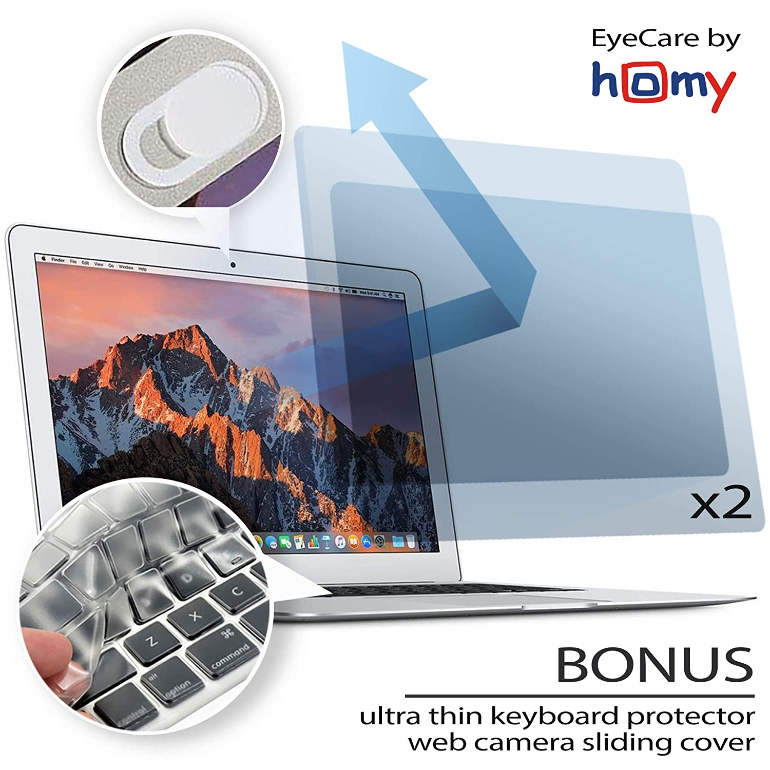 Homy Anti Blue Light Screen Protector Kit [2-Pack] for MacBook Air 13 inch Retina 2017 or Earlier + Keyboard Cover Ultra-Thin TPU + Web Camera Sliding Cover. Eye Protection for A1369 A1466 Models ONLY