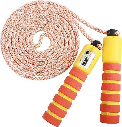 KONVINIT Cuerda para Saltar Skipping Rope Ajustable con Mango de Madera para ni/ños Longitud de 102 Pulgadas Adecuado para el Juego Escolar o Actividad al Aire Libre