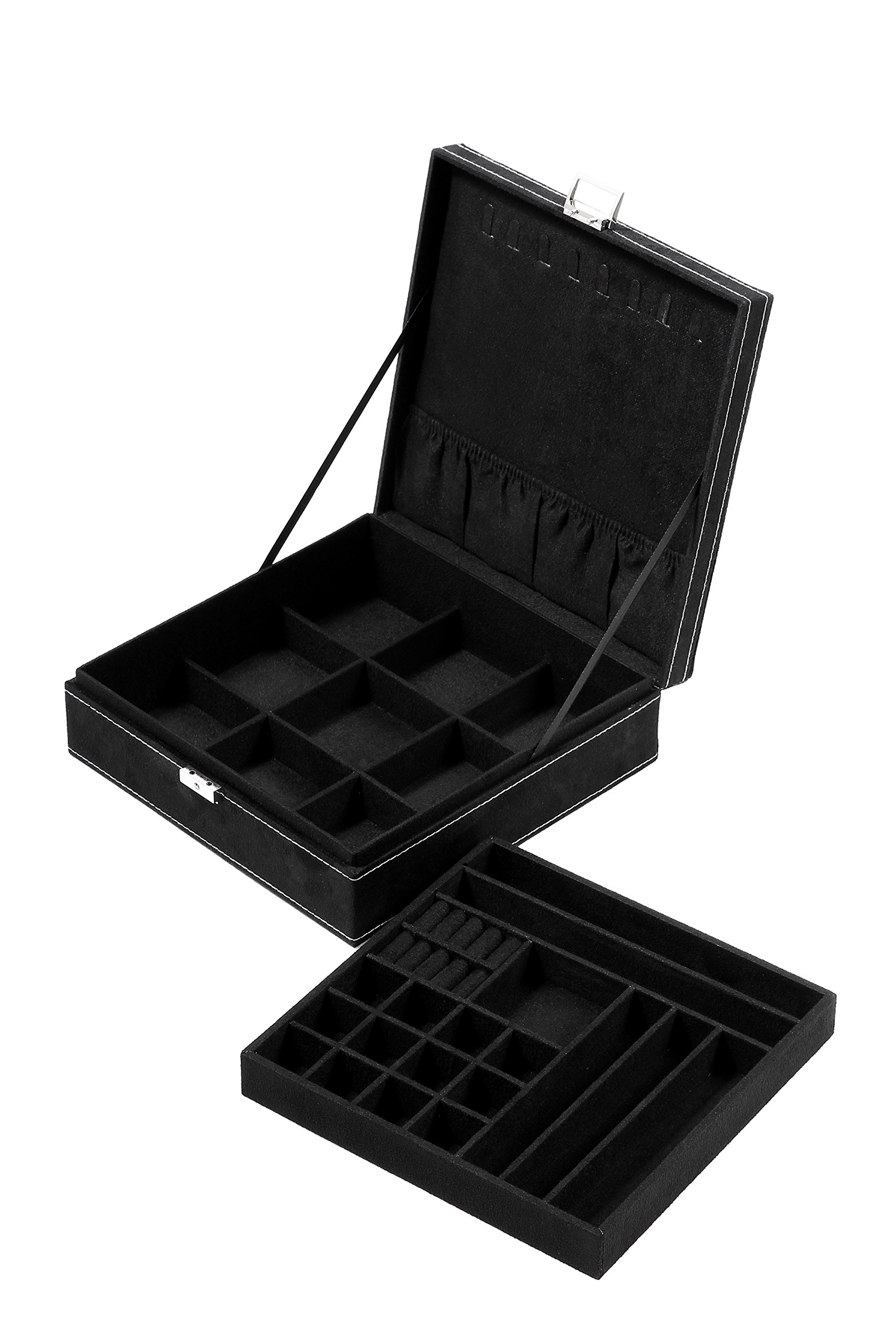 Two Layer Jewelry Box Organizer Display Storage Case Lock & Key - Velvety Smooth Texture - Removable Tray - Compact - Ample Storage Space - Black - 10.5 x 10.5 x 3.5 inches