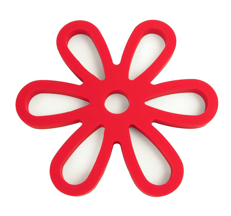 1205 Silikon//Platin YOKO DESIGN Topf-Untersetzer in Blumenform Rot 16 x 14,3 x 0,9 cm