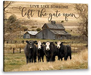 Ohcanvas Live Like Someone Left The Gate Open Cows Canvas Wall Art Decor Birthday Christmas Thanksgiving Gift (16 in x 24 in)