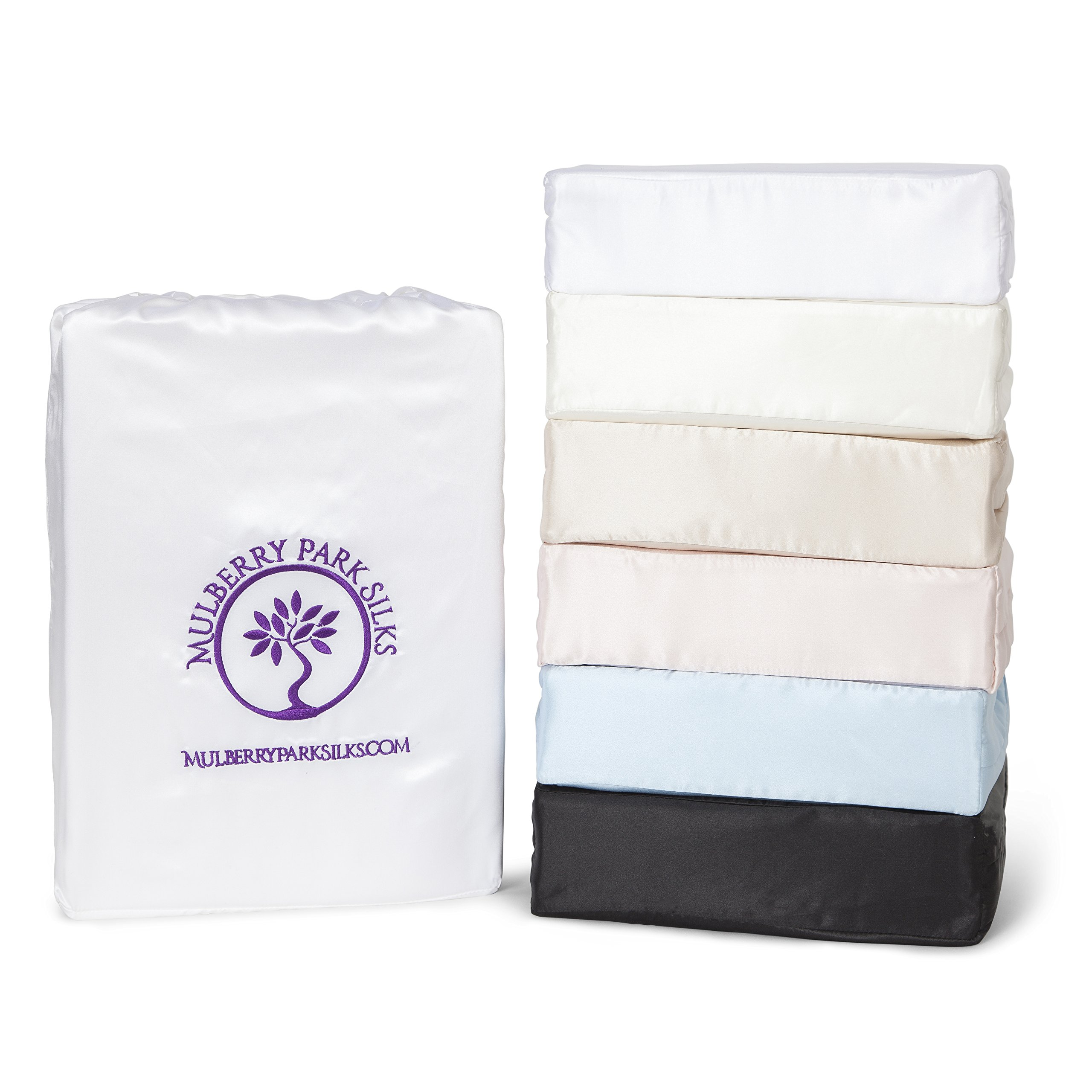 Twin Silk Sheet Set (15'' Pocket) - White - DELUXE 22 Momme 100% Pure Mulberry Charmeuse Natural Bedding - OEKO-TEX Certified - Seamless by Mulberry Park Silks (Image #1)