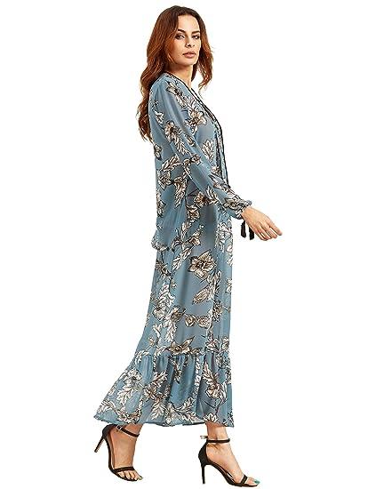 SHEIN mujeres floral impresión de manga larga Loose Sheer Maxi vestido: Amazon.es: Ropa y accesorios
