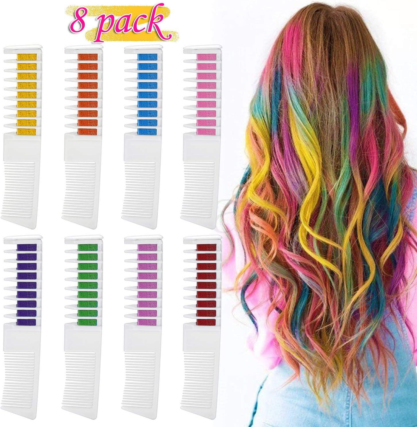 Pascua de Resurrección Tinte para el cabello Tiza de Pelo,Emooqi Temporal CabelloTiza Color 8 Colores 2 en 1 peine Coloración de cabello Tinte no ...