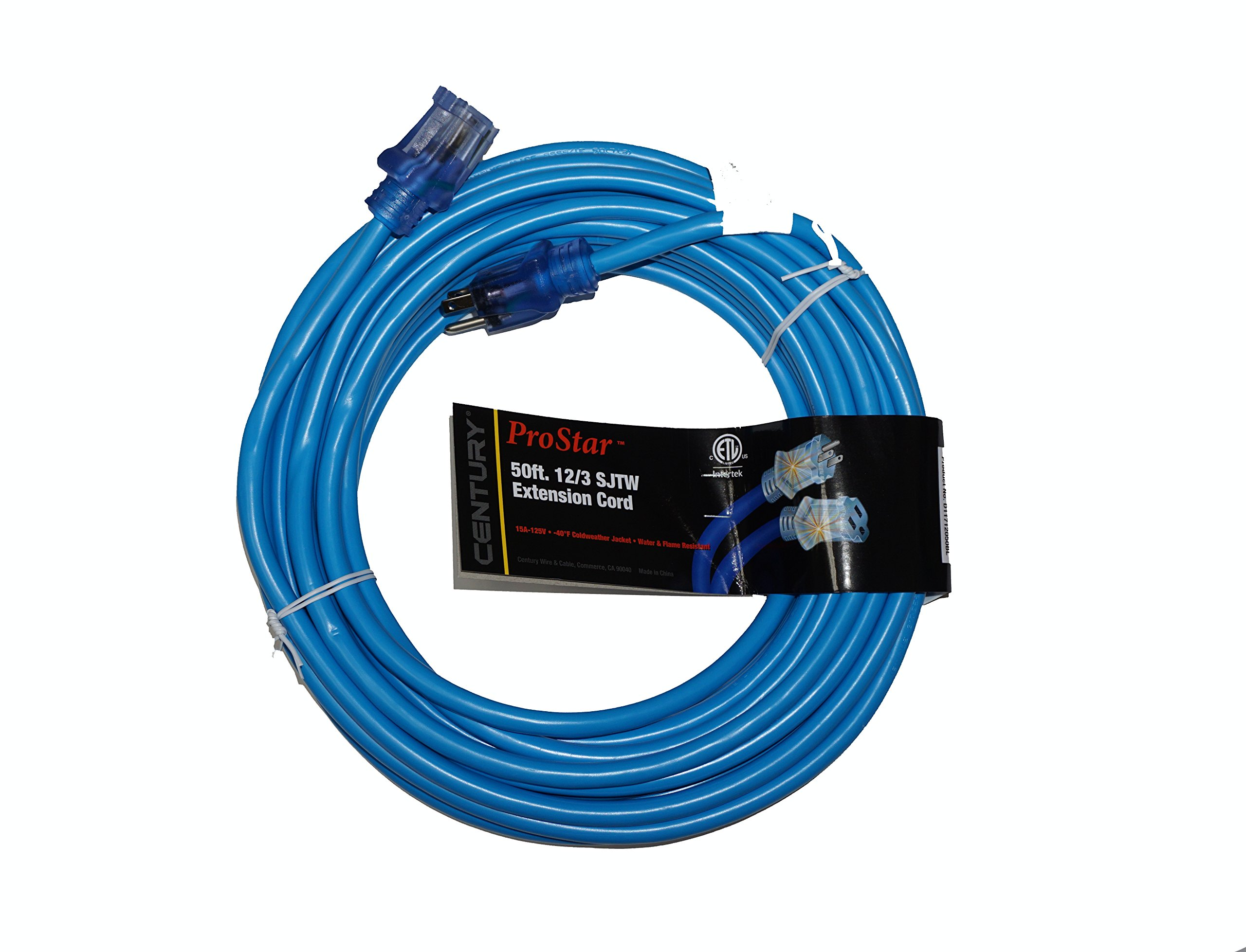 ProStar 12 Gauge SJTW 3 Conductor 50 Foot Extension Cord With Lighted Ends - Blue