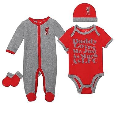 e756e71ec92 Liverpool FC Autumn-Winter 2017 Cotton Grey Red Baby Sleep Suit Bodysuit Hat  Mittens