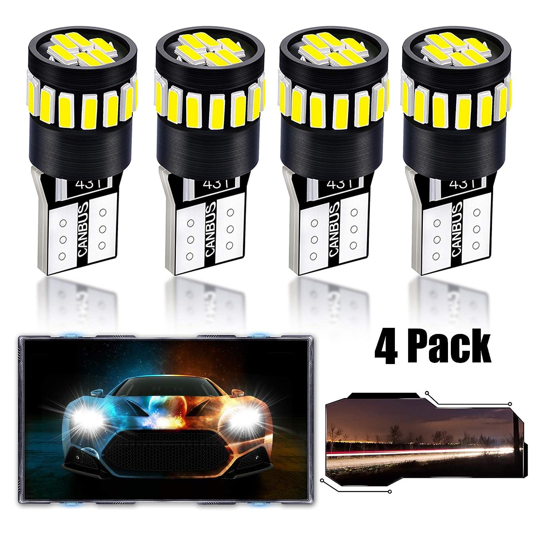LZHOO T10 W5W LED Bulbs 168 194 2825 LED Bulbs Super Bright 21-SMD 4014, LED Car Lights Source Replacement Bulbs Side Map Interior Lamps,4 Pcs