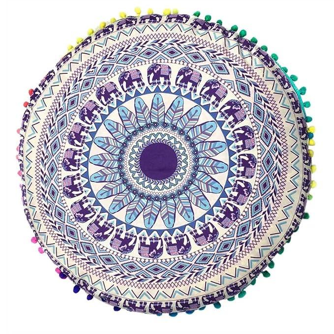 Funda para cojines redondos para el suelo HKFV con diseño de mandala hindú, moda bohemia, Pattern E, 43*43cm