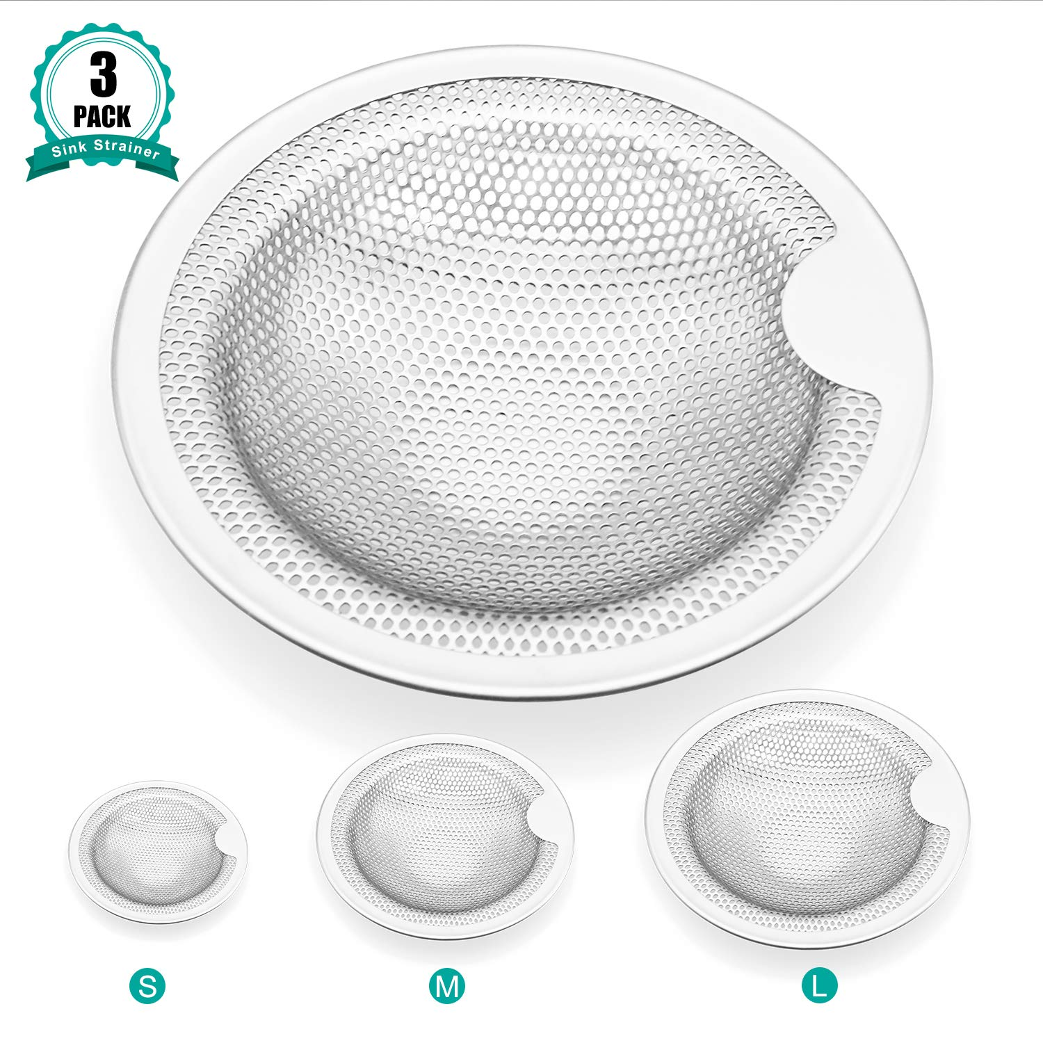 Sink Strainer,Hat-Design Stainless Steel Sink Drain Cover Garbage Disposal Filter,S/M/L set for Washbasin Bath and Kitchen