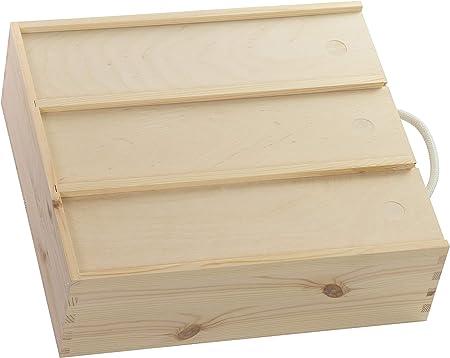Caja de madera para 3 botellas de vino de Laublust, aprox. 35 x 32 ...