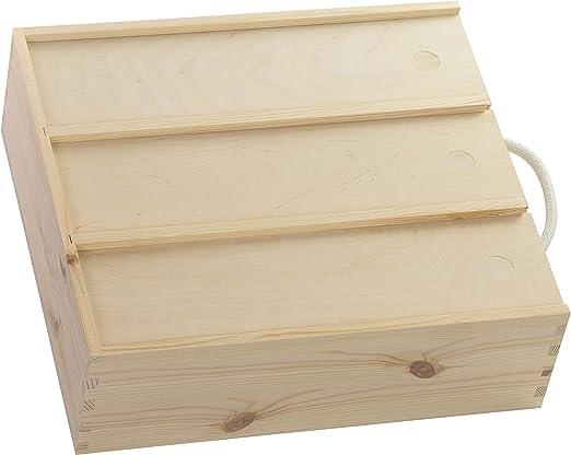 Caja de madera para 3 botellas de vino, aprox. 35 x 32 x 11 cm, natural, FSC®, con tapa deslizante y cuerda de transporte: Amazon.es: Hogar