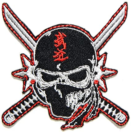 Amazon.com : Ninja Samurai Logo Kid Biker Patch Sew Iron ...