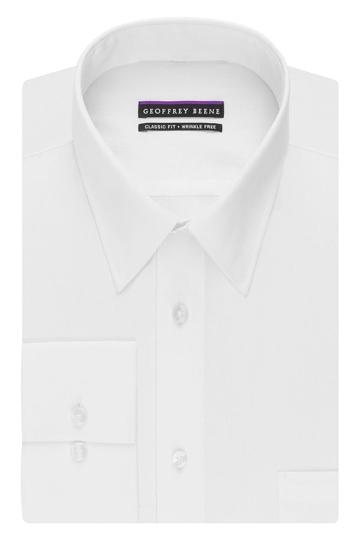 Geoffrey Beene Mens Regular Fit Textured Stripe Sateen White Shirt Geoffrey Beene Dress Shirts 30B4412