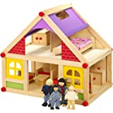 Wooden Doll House With Furniture U0026 Figures
