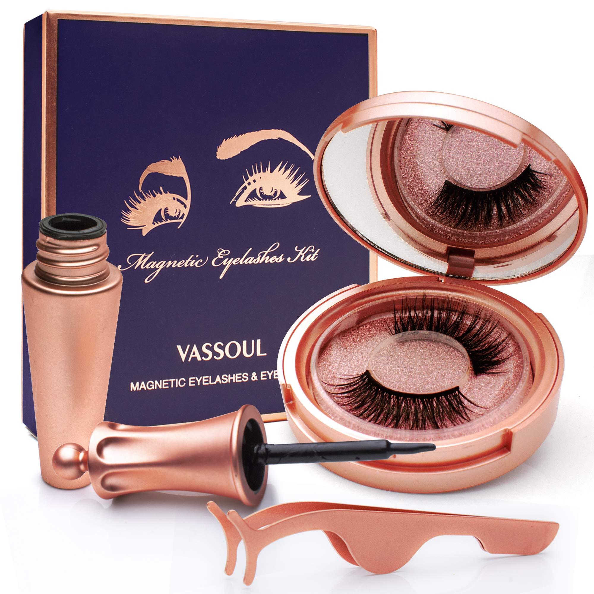 VASSOUL Magnetic Eyelashes With Eyeliner, Magnetic Eyeliner And Lashes, Magnetic Eyeliners With Advanced 3D Magnetic Eyelash, Magnetic lashliner, And Applicator by VASSOUL