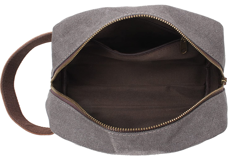 Grey Vintage Leather Canvas Travel Toiletry Bag Shaving Dopp Kit #A001