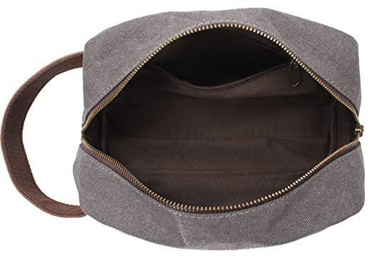 Amazon.com   MSG Vintage Leather Canvas Travel Toiletry Bag Shaving Dopp Kit   A001 (Grey)   Beauty 347e14d98f5a1