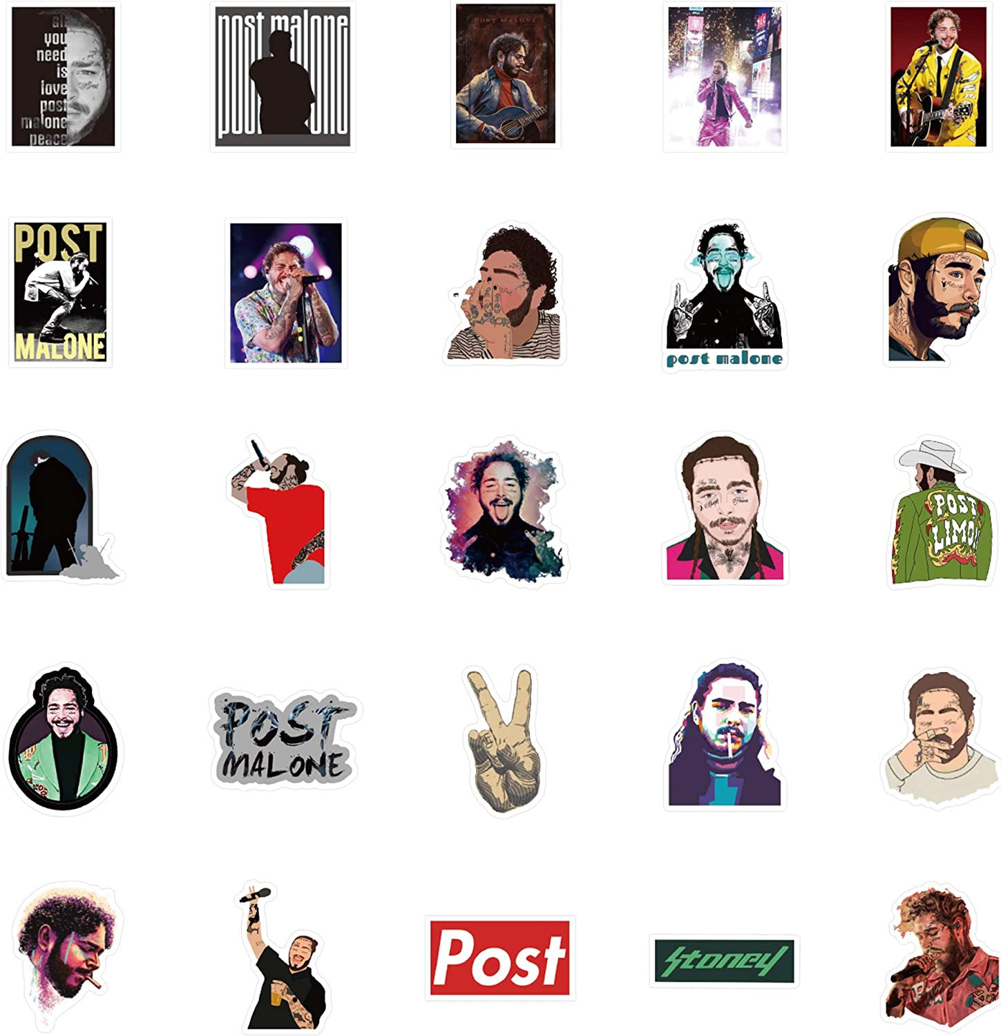 50Pcs Post Malone Singer Stickers Post Malone Theme Stickers Party Supplies Vinyl Waterproof Sticker Aesthetic Stickers Mobile Phone Stickers Birthday Christmas New Year Gift.