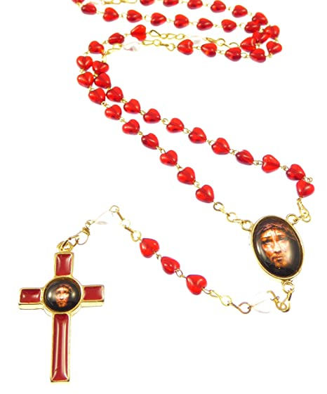 Precious blood of Christ red glass heart Sacred face of Jesus rosary beads