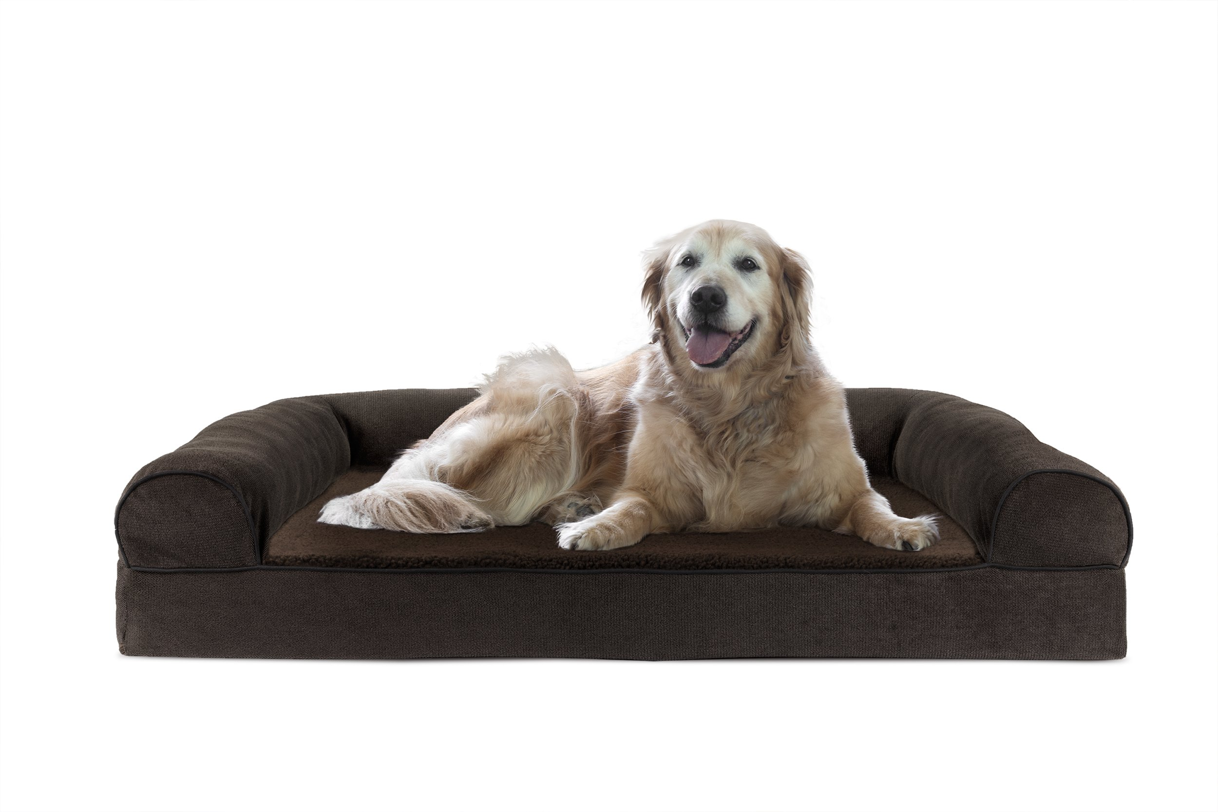 FurHaven Cooling Gel Memory Foam Orthopedic Faux Fleece & Chenille Dog Couch Sofa Bed for Dogs and Cats, Coffee, Jumbo
