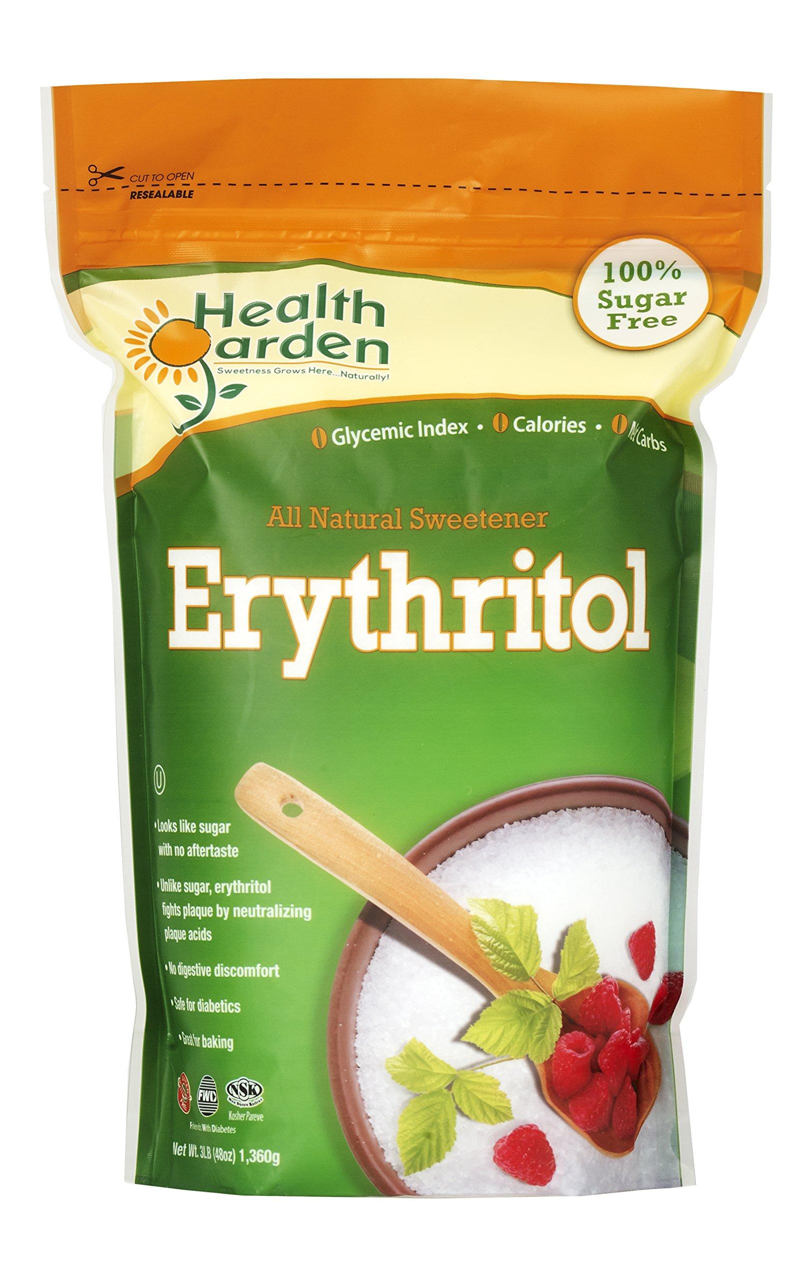 Erythritol Sugar Free Sweetener - 100% Natural & Non GMO Sugar Substitute - Health Garden (3 LB)