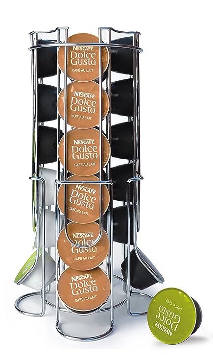 MAXXO dispensador de cápsulas para Dolce Gusto 24 Cápsulas metal cromado, soporte para cápsulas