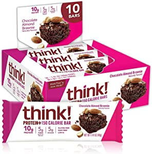 think! Protein plus 150 Calorie Bars, No Artificial Sweeteners, Chocolate Almond Brownie, 14.1 Ounce