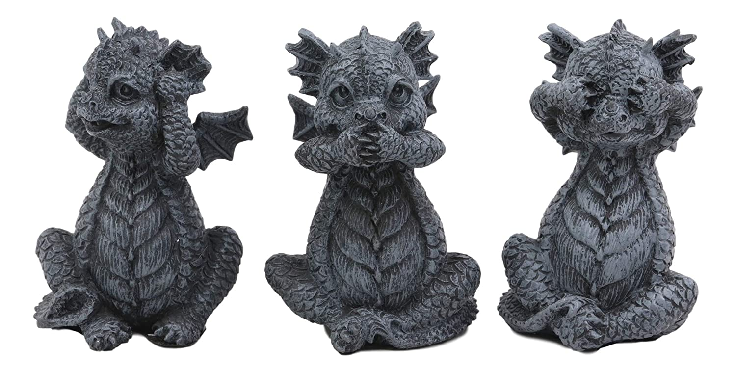 """Ebros Whimsical Three Wise Dragon Hatchlings See Hear Speak No Evil Baby Dragons Collectible Figurine Miniature Set 3.5"""" Tall Each Dungeons and Dragons Medieval Renaissance Decor"""