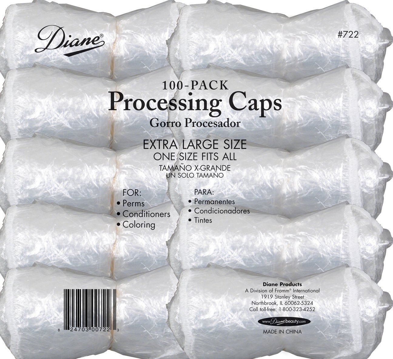 Diane Processing Caps, 200-pack, hair color, chemicals, perms, hair conditioner, one size, extra large, reusable, protects your hair, dyeing, hair care, salon use, professional use, stylist, secures, elastic band