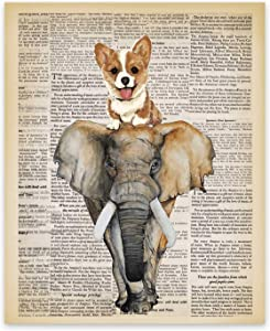 The Corgi and the Elephant Retro Typography Art Print - Set of 1 (8X10) photos Unframed - Great Gift For Your Home Room Office Decor