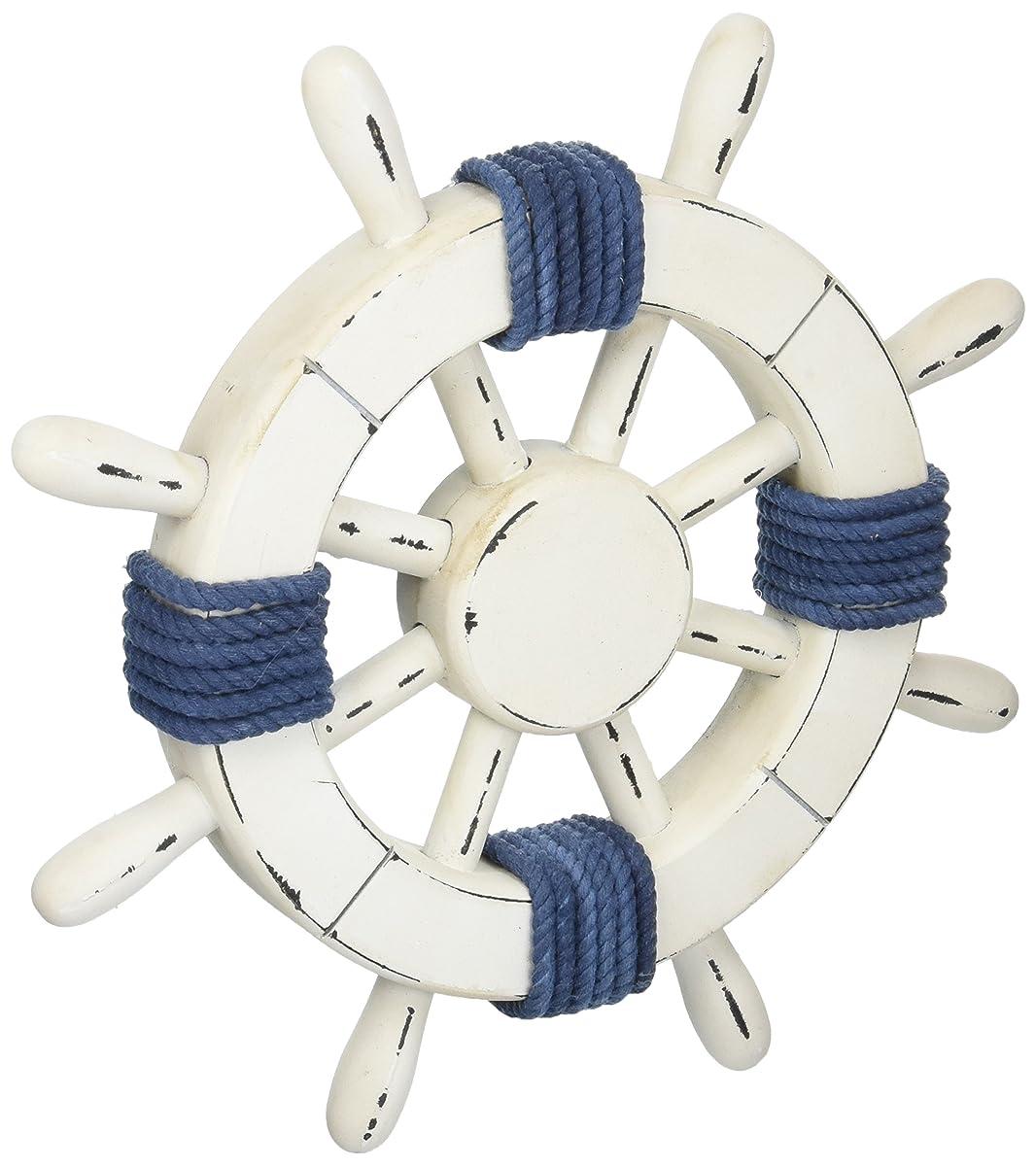 "Hampton Nautical 12"" Wooden Steering Rustic White Decorative Ship Wheel with Dark Blue Rope"