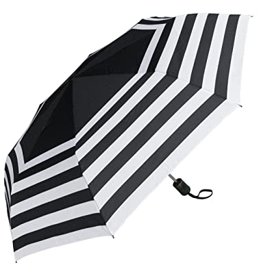 RainStoppers W033 Open Auto Close Deluxe Striped Mini Arc Umbrella, Black/White, 44""