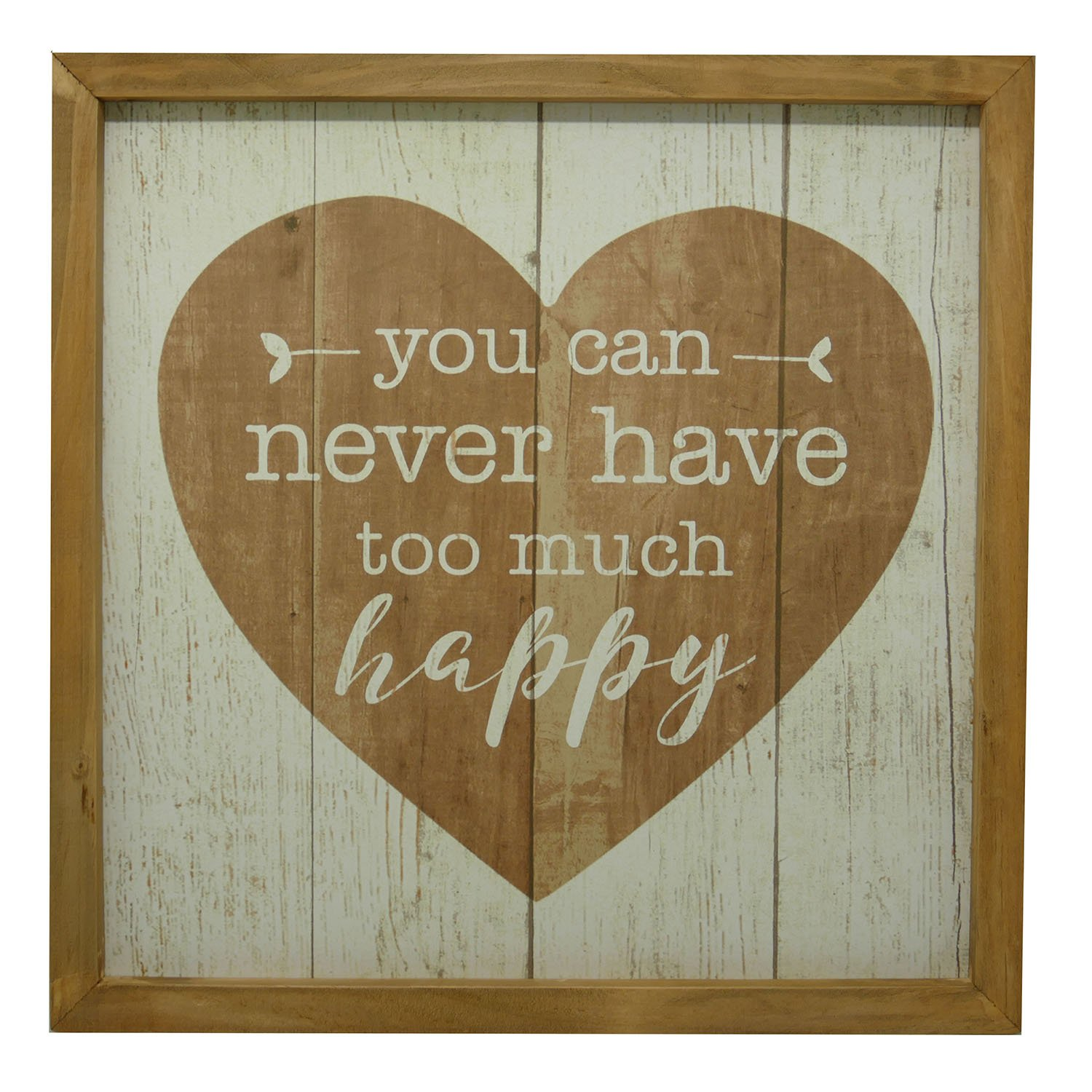 NIKKY HOME Decorative Wood Framed Sign Wall Art with Inspirational Quote You can Never Have Too Much Happy