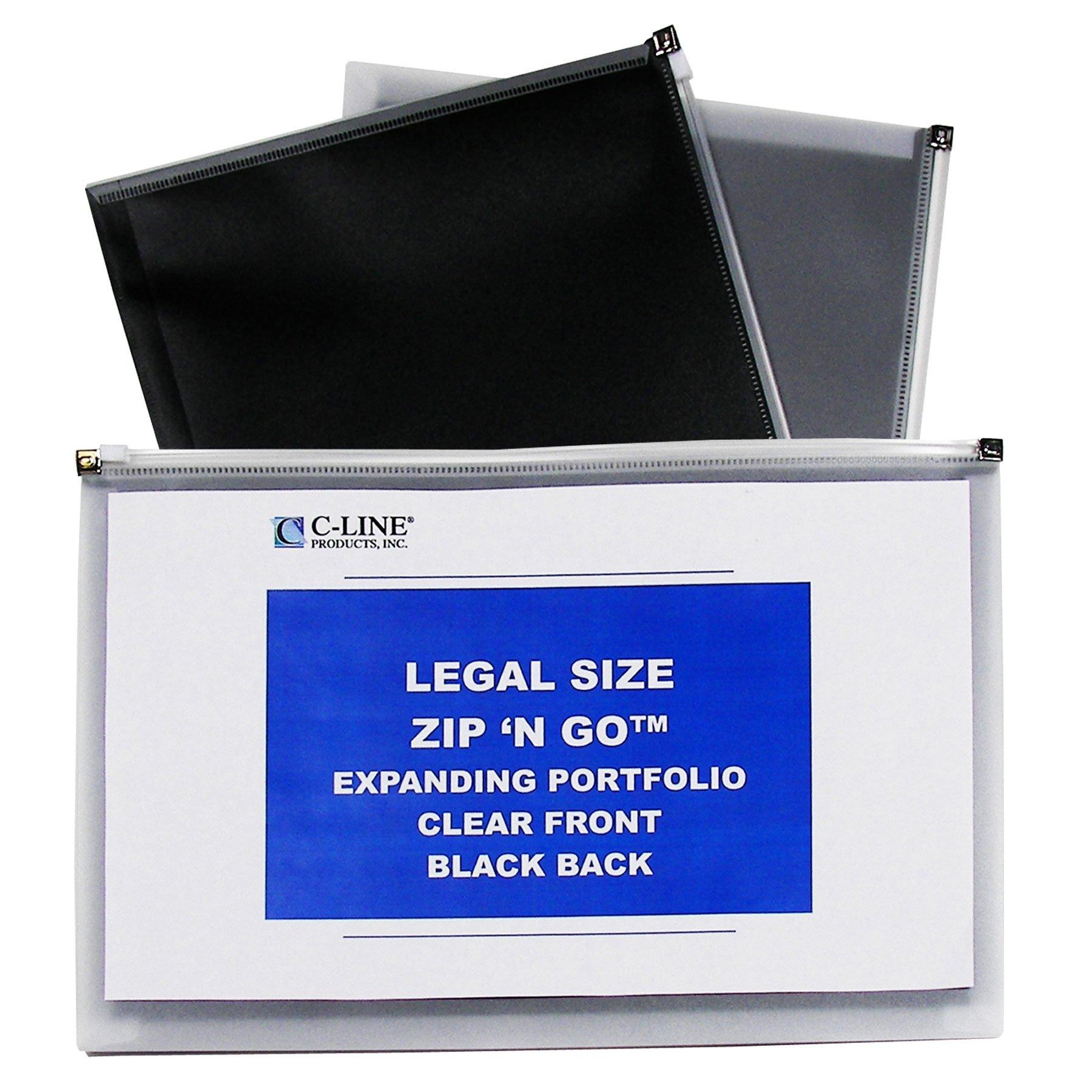 C-Line Zip 'N Go Expanding Portfolios, Legal Size, 200-Sheet Capacity, Black/Clear, 5 per Pack (48101)