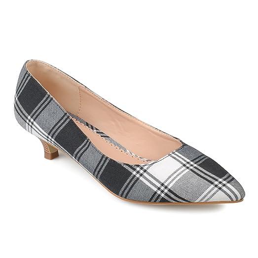 Womens Pointed Toe Fabric Kitten Heels