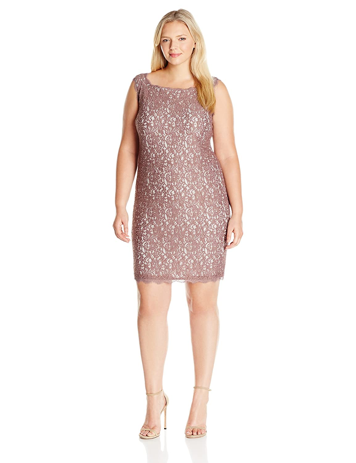 Adrianna Papell Women's Plus-Size Sleeveless Short Lace Cocktail Dress