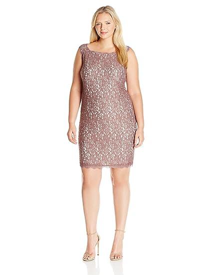Amazoncom Adrianna Papell Womens Plus Size Sleeveless Short Lace
