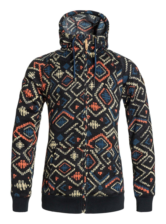 Roxy Snow Junior's Resin Knit Fleece Jacket, Kilim, Small