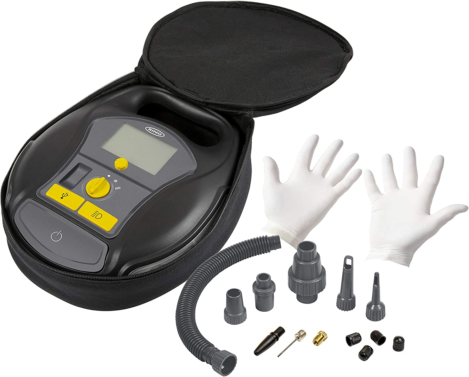 Latex Gloves and Storage Case Valve Caps Large Digital Screen Power Bank LED Light Quick Set Auto Stop Ring RTC6000 Cordless 4-in-1 Digital Tyre Inflator with Air Pump