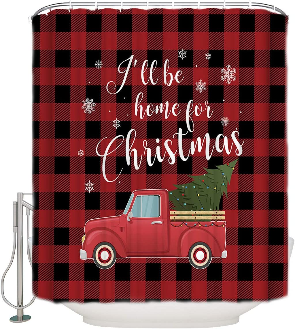 Decorative Shower Curtain Set, I'll Be Home for Christmas Truck with Christmas Tree Black Red Lattice Waterproof Fabric Bath Curtain with Hooks for Kid's Bathroom, Guest Bathroom, Bathtub 60