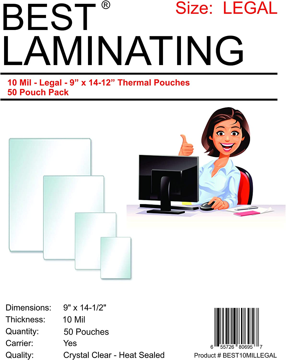 Best Laminating 10 Mil Clear Legal Size Thermal Laminating Pouches Qty 50 Pouches 9 X 14.5 inches