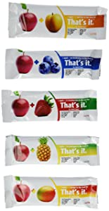 That's it, Apple + Variety 100% Natural Real Fruit Bar, Best High Fiber Vegan, Gluten Free Healthy Snack, (5 Flavors Variety Pack of 12)