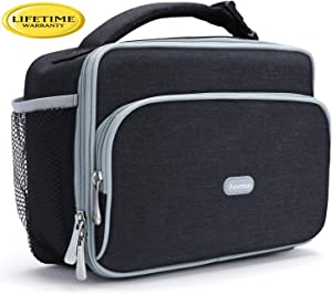 Amersun Lunch Box,Sturdy Insulated Lunch Box with Padded Liner Keep Food Warm Cold for Long Time,Water-resistant Thermal Lunch Cooler for Men Women Aduts Travel Picnic Office(2 Pockets,Black)